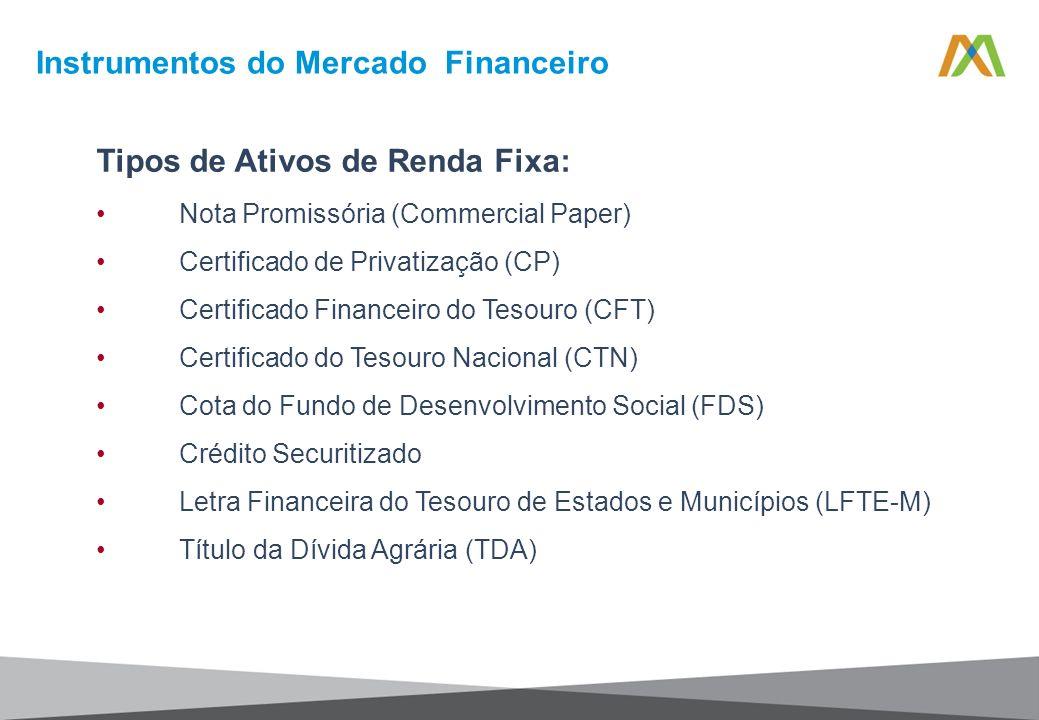 Tipos de Ativos de Renda Fixa: Nota Promissória (Commercial Paper) Certificado de Privatização (CP) Certificado Financeiro do Tesouro (CFT) Certificad
