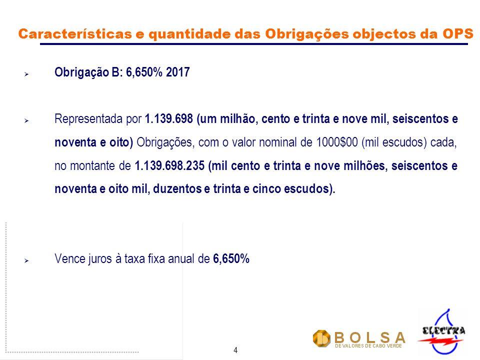 4 Obrigação B: 6,650% 2017 Representada por 1.139.698 (um milhão, cento e trinta e nove mil, seiscentos e noventa e oito) Obrigações, com o valor nominal de 1000$00 (mil escudos) cada, no montante de 1.139.698.235 (mil cento e trinta e nove milhões, seiscentos e noventa e oito mil, duzentos e trinta e cinco escudos).