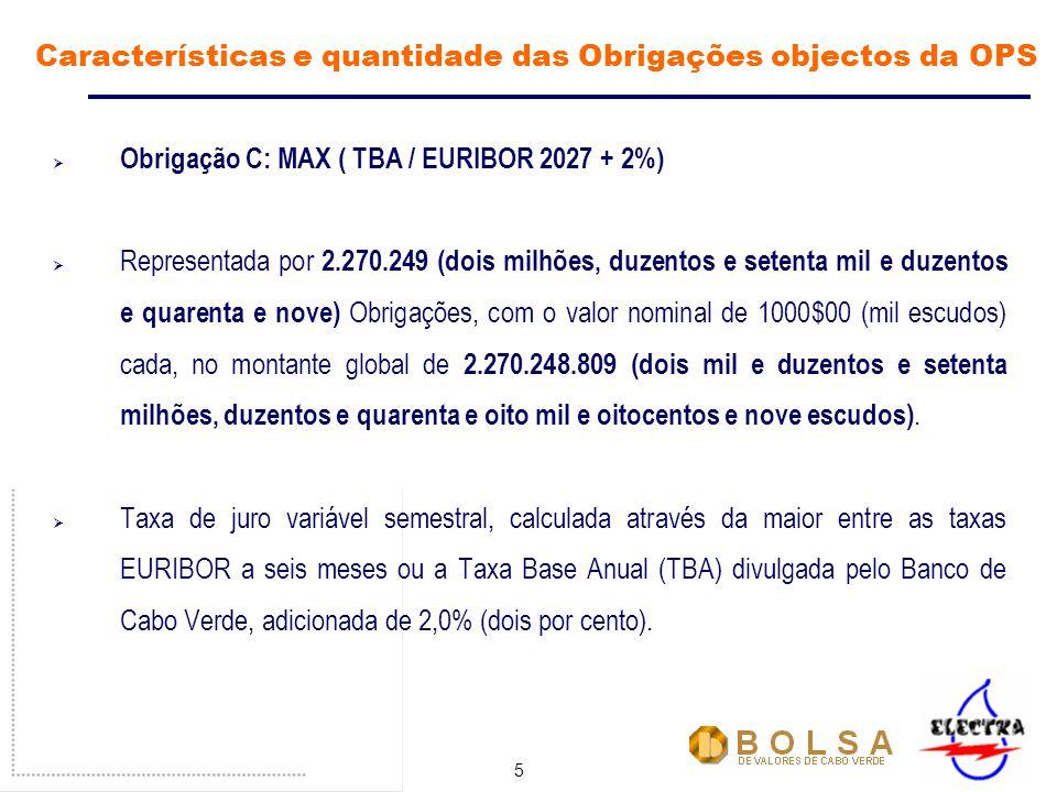 5 Obrigação C: MAX ( TBA / EURIBOR 2027 + 2%) Representada por 2.270.249 (dois milhões, duzentos e setenta mil e duzentos e quarenta e nove) Obrigações, com o valor nominal de 1000$00 (mil escudos) cada, no montante global de 2.270.248.809 (dois mil e duzentos e setenta milhões, duzentos e quarenta e oito mil e oitocentos e nove escudos).