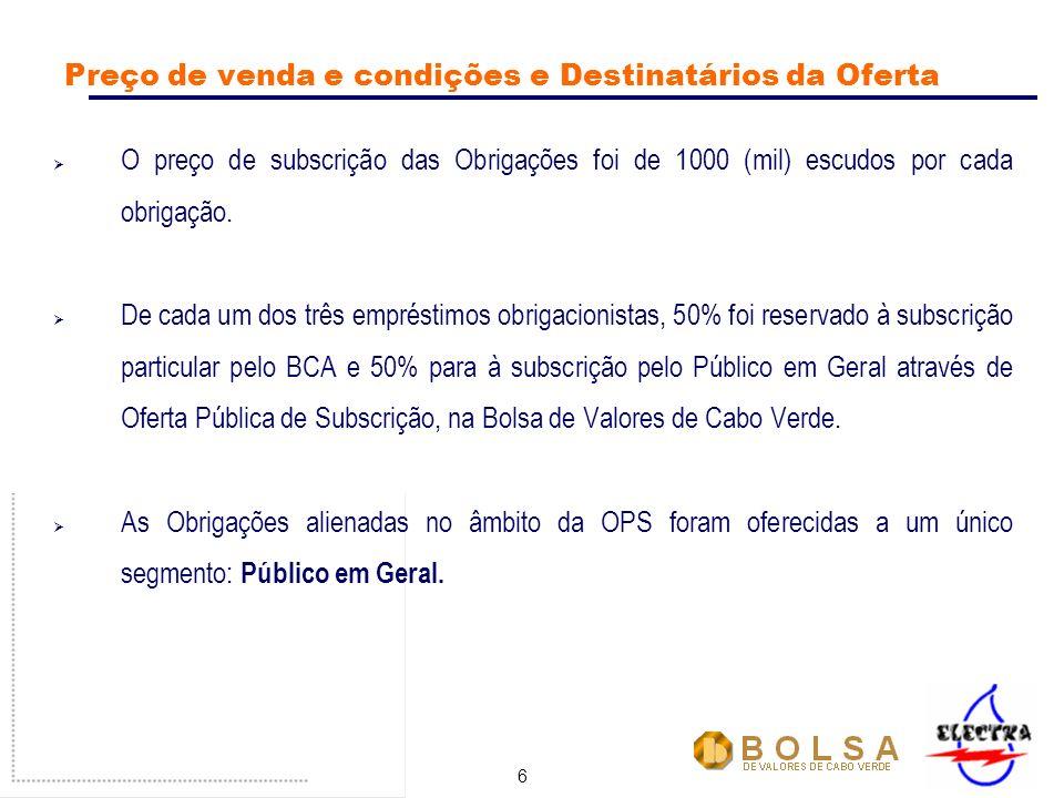 6 Preço de venda e condições e Destinatários da Oferta O preço de subscrição das Obrigações foi de 1000 (mil) escudos por cada obrigação.