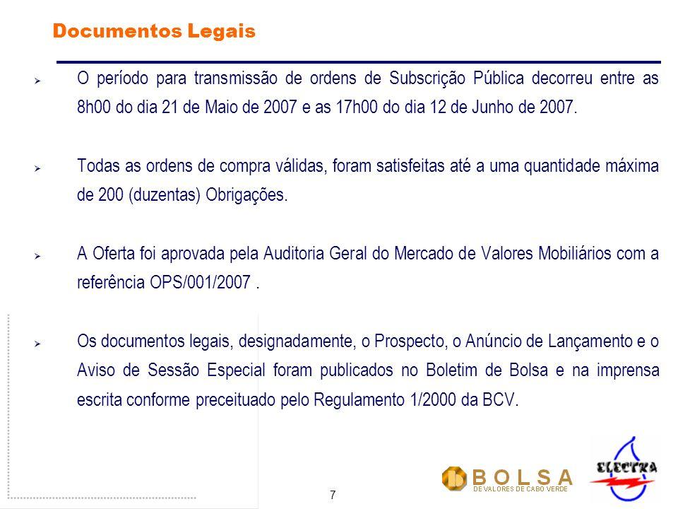 7 Documentos Legais O período para transmissão de ordens de Subscrição Pública decorreu entre as 8h00 do dia 21 de Maio de 2007 e as 17h00 do dia 12 de Junho de 2007.