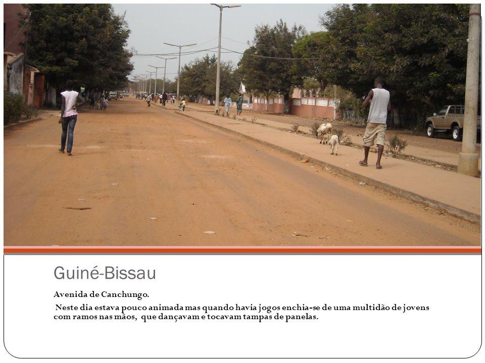 Guiné-Bissau Avenida de Canchungo. Neste dia estava pouco animada mas quando havia jogos enchia-se de uma multidão de jovens com ramos nas mãos, que d