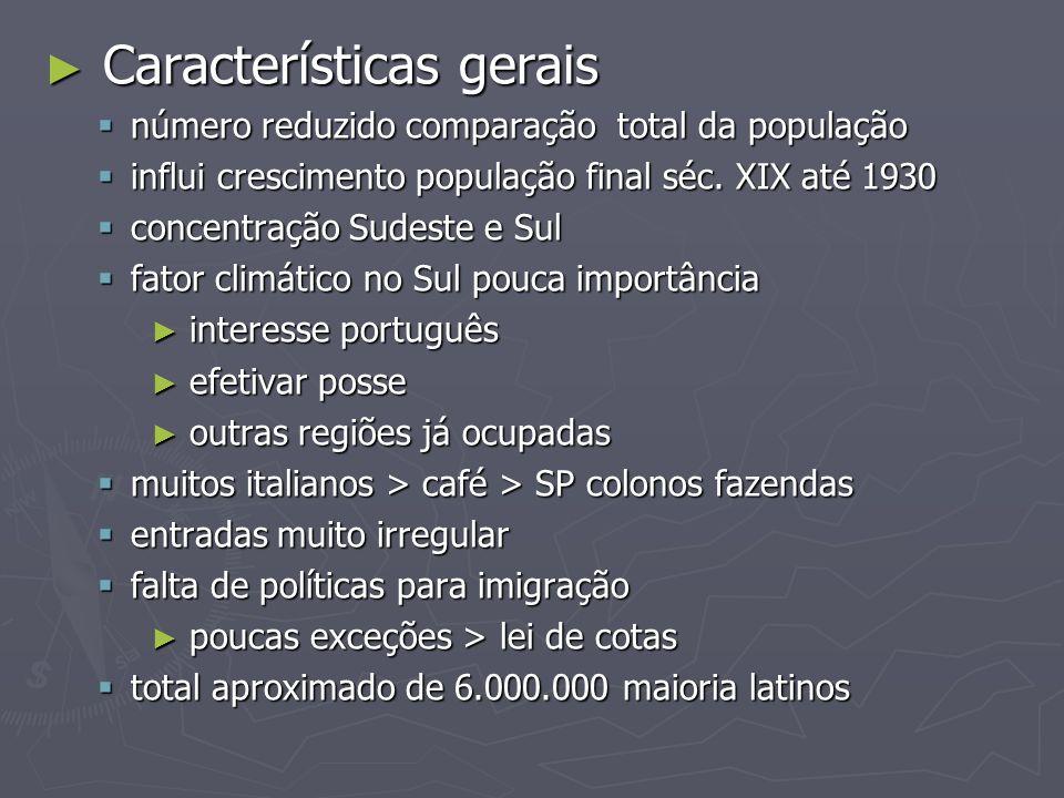 Características gerais Características gerais número reduzido comparação total da população número reduzido comparação total da população influi cresc