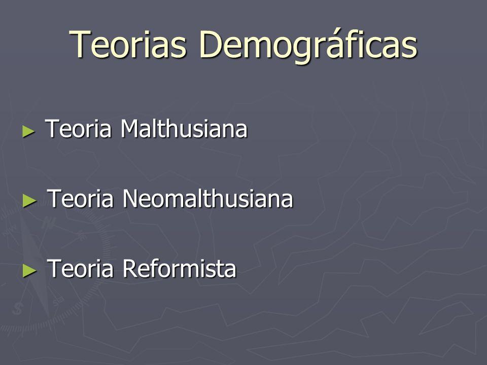 Teorias Demográficas Teoria Malthusiana Teoria Malthusiana Teoria Neomalthusiana Teoria Neomalthusiana Teoria Reformista Teoria Reformista