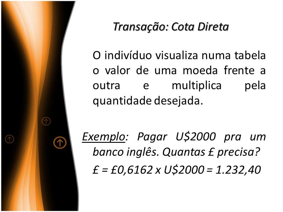 Transação: Cota Direta O indivíduo visualiza numa tabela o valor de uma moeda frente a outra e multiplica pela quantidade desejada. Exemplo: Pagar U$2