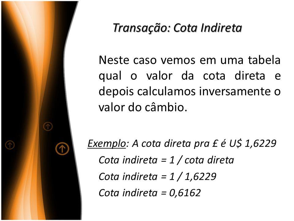 Transação: Cota Indireta Neste caso vemos em uma tabela qual o valor da cota direta e depois calculamos inversamente o valor do câmbio. Exemplo: A cot