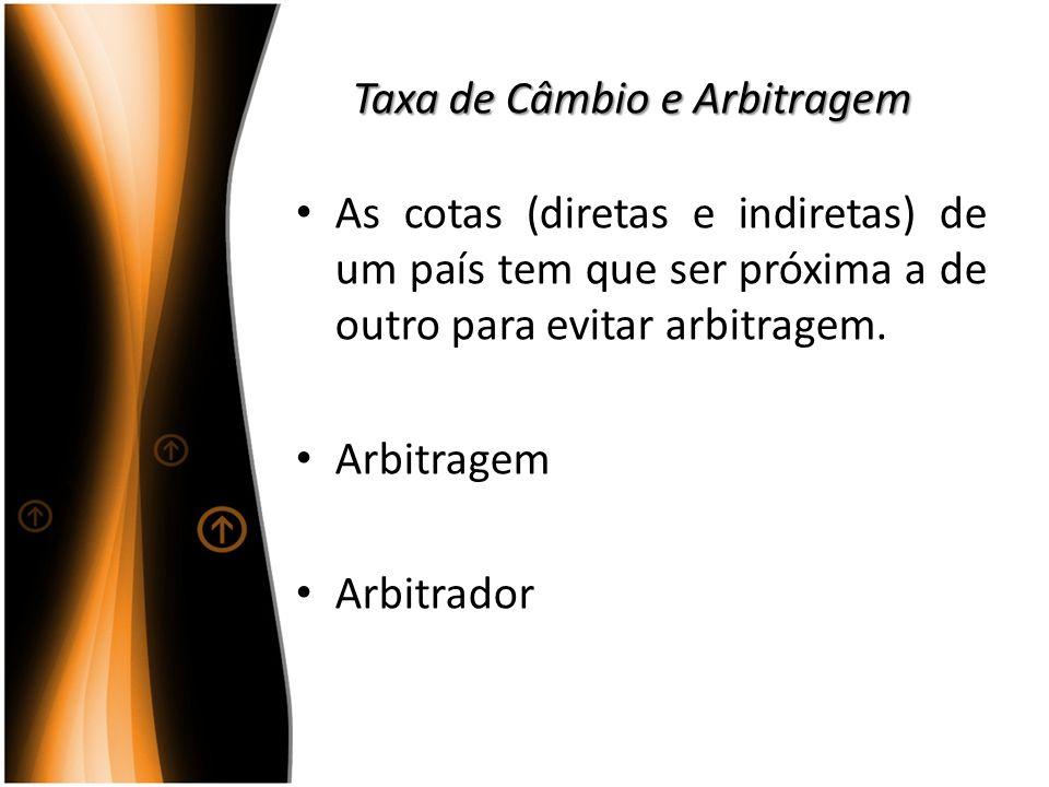 Taxa de Câmbio e Arbitragem As cotas (diretas e indiretas) de um país tem que ser próxima a de outro para evitar arbitragem. Arbitragem Arbitrador