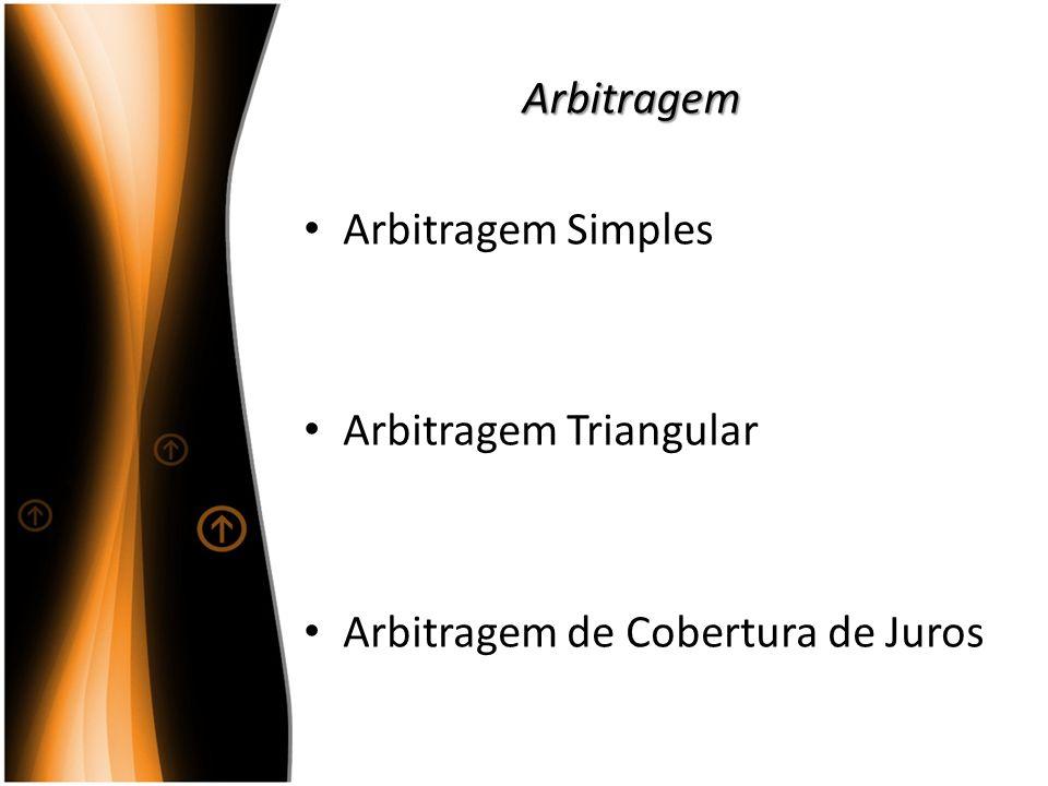 Arbitragem Arbitragem Simples Arbitragem Triangular Arbitragem de Cobertura de Juros