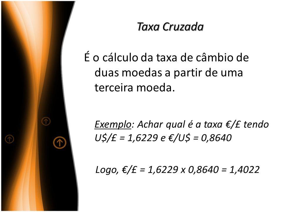 Taxa Cruzada É o cálculo da taxa de câmbio de duas moedas a partir de uma terceira moeda. Exemplo: Achar qual é a taxa /£ tendo U$/£ = 1,6229 e /U$ =