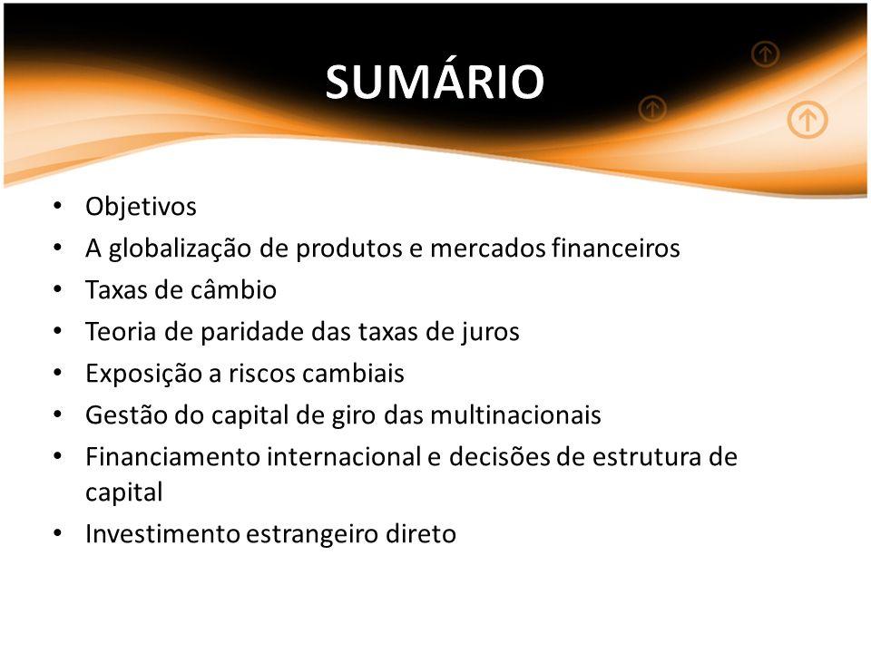 Objetivos A globalização de produtos e mercados financeiros Taxas de câmbio Teoria de paridade das taxas de juros Exposição a riscos cambiais Gestão d