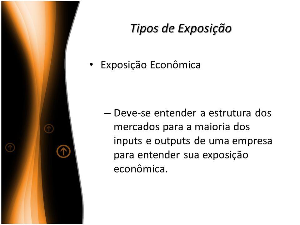 Tipos de Exposição Exposição Econômica – Deve-se entender a estrutura dos mercados para a maioria dos inputs e outputs de uma empresa para entender su