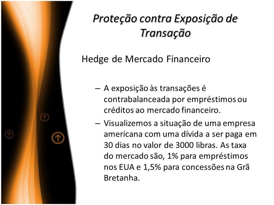 Proteção contra Exposição de Transação Hedge de Mercado Financeiro – A exposição às transações é contrabalanceada por empréstimos ou créditos ao merca
