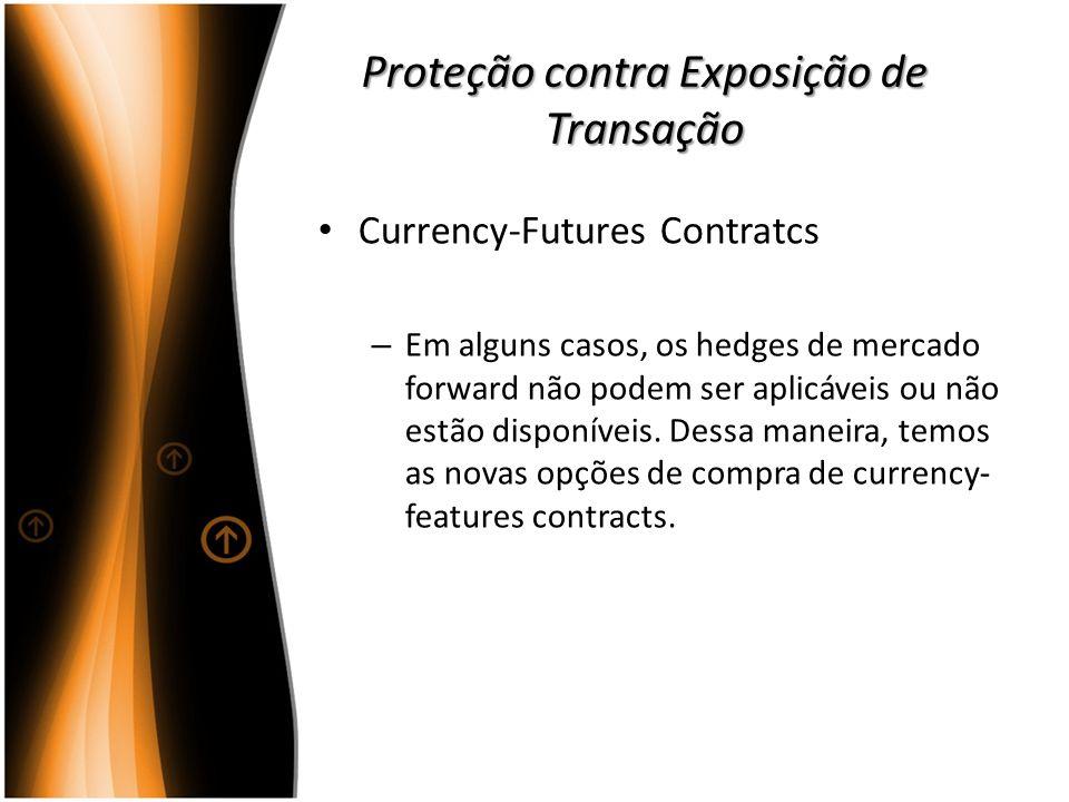 Proteção contra Exposição de Transação Currency-Futures Contratcs – Em alguns casos, os hedges de mercado forward não podem ser aplicáveis ou não estã