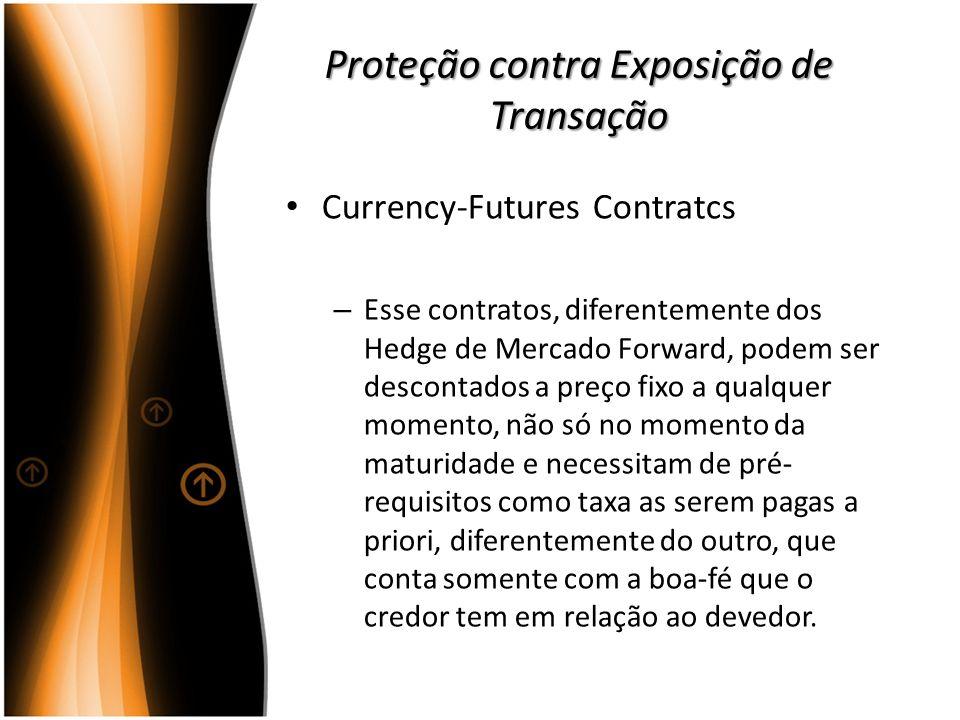 Proteção contra Exposição de Transação Currency-Futures Contratcs – Esse contratos, diferentemente dos Hedge de Mercado Forward, podem ser descontados