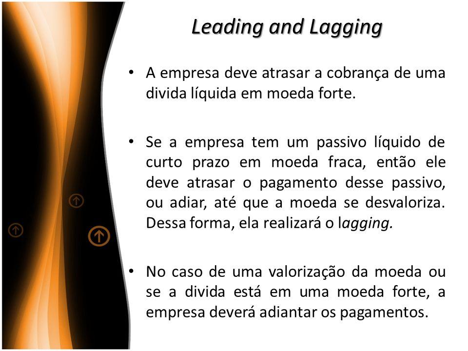 Leading and Lagging A empresa deve atrasar a cobrança de uma divida líquida em moeda forte. Se a empresa tem um passivo líquido de curto prazo em moed