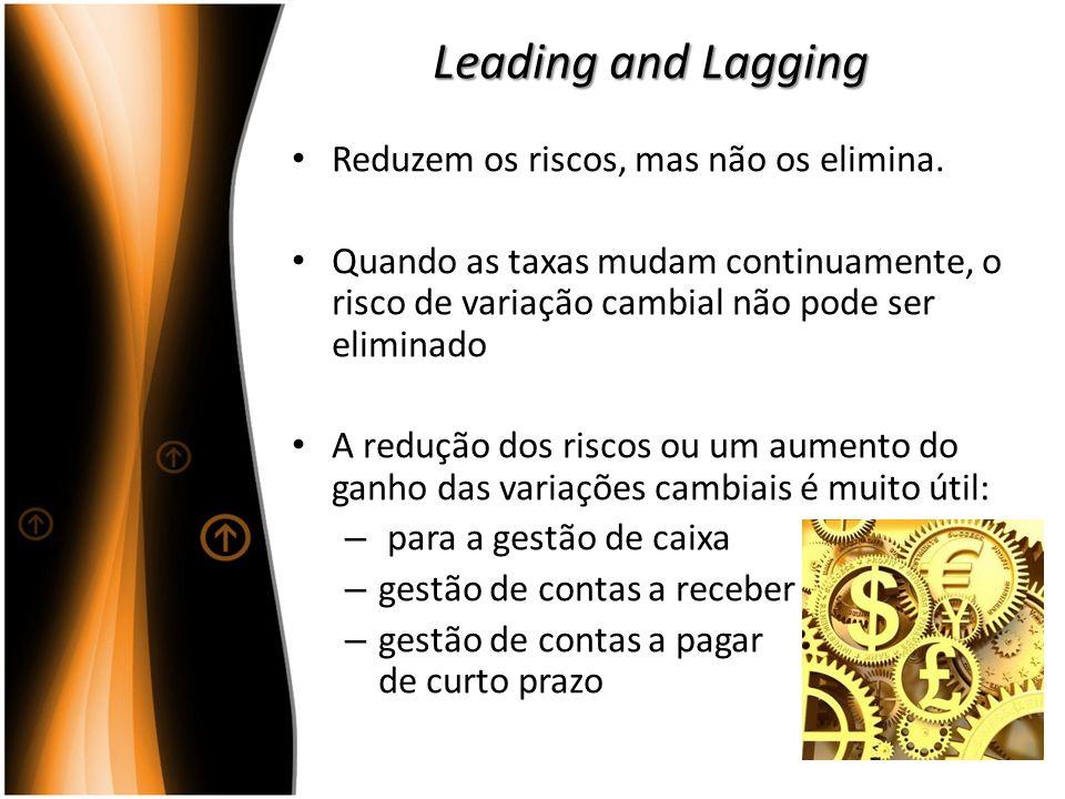 Leading and Lagging Reduzem os riscos, mas não os elimina. Quando as taxas mudam continuamente, o risco de variação cambial não pode ser eliminado A r