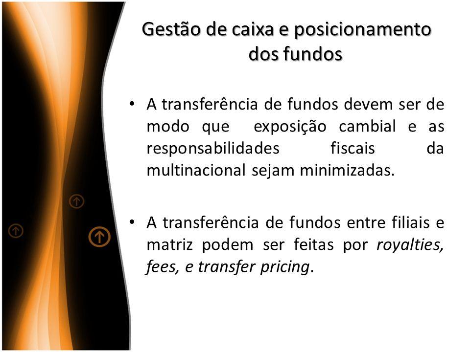Gestão de caixa e posicionamento dos fundos A transferência de fundos devem ser de modo que exposição cambial e as responsabilidades fiscais da multin