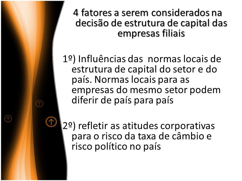 4 fatores a serem considerados na decisão de estrutura de capital das empresas filiais 4 fatores a serem considerados na decisão de estrutura de capit