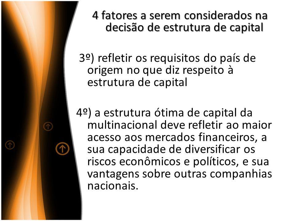 4 fatores a serem considerados na decisão de estrutura de capital 4 fatores a serem considerados na decisão de estrutura de capital 3º) refletir os re