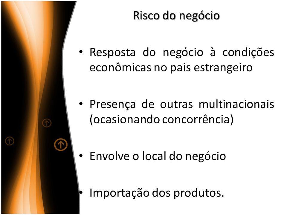 Risco do negócio Resposta do negócio à condições econômicas no pais estrangeiro Presença de outras multinacionais (ocasionando concorrência) Envolve o