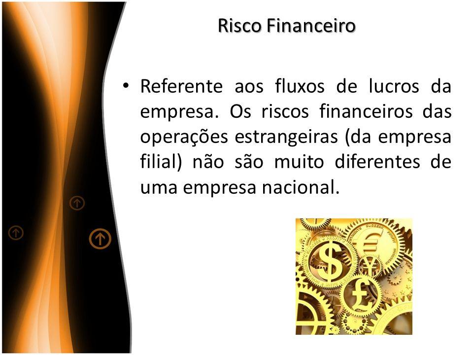Risco Financeiro Referente aos fluxos de lucros da empresa. Os riscos financeiros das operações estrangeiras (da empresa filial) não são muito diferen