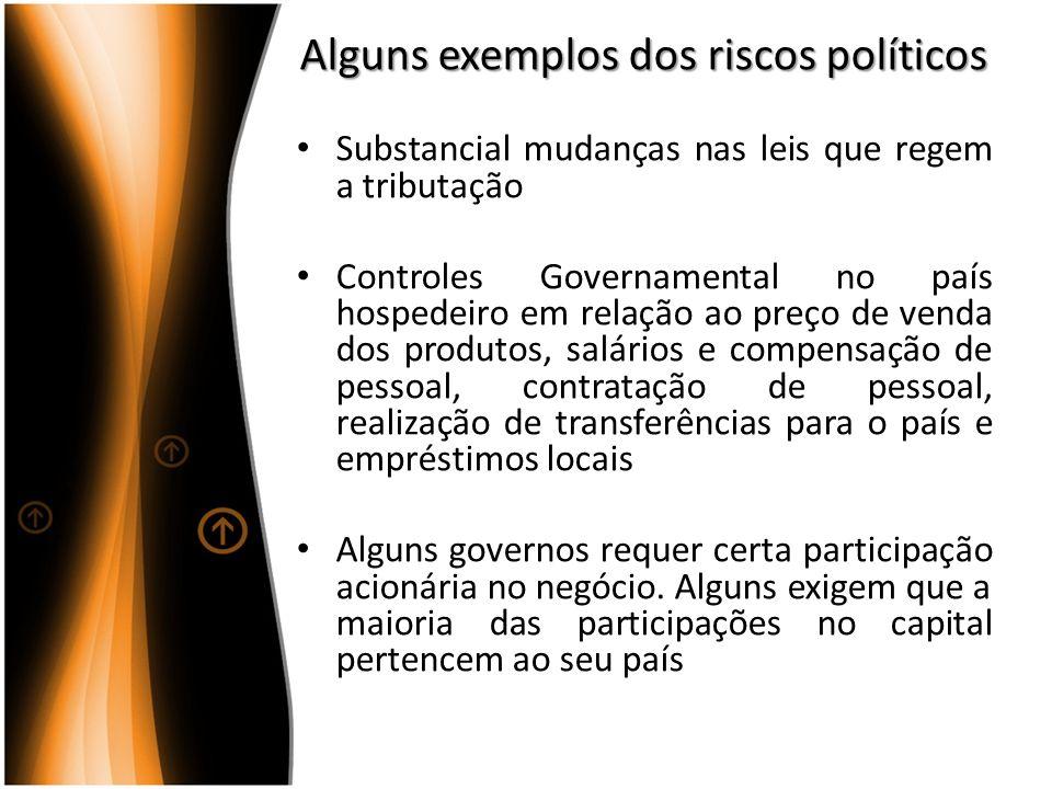 Alguns exemplos dos riscos políticos Substancial mudanças nas leis que regem a tributação Controles Governamental no país hospedeiro em relação ao pre