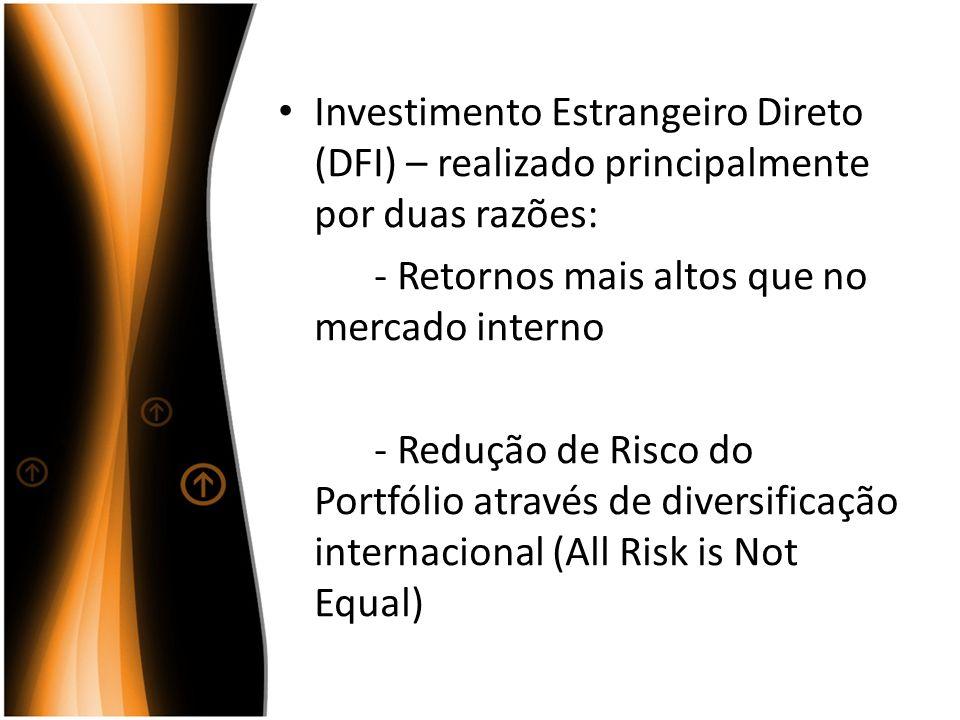Investimento Estrangeiro Direto (DFI) – realizado principalmente por duas razões: - Retornos mais altos que no mercado interno - Redução de Risco do P