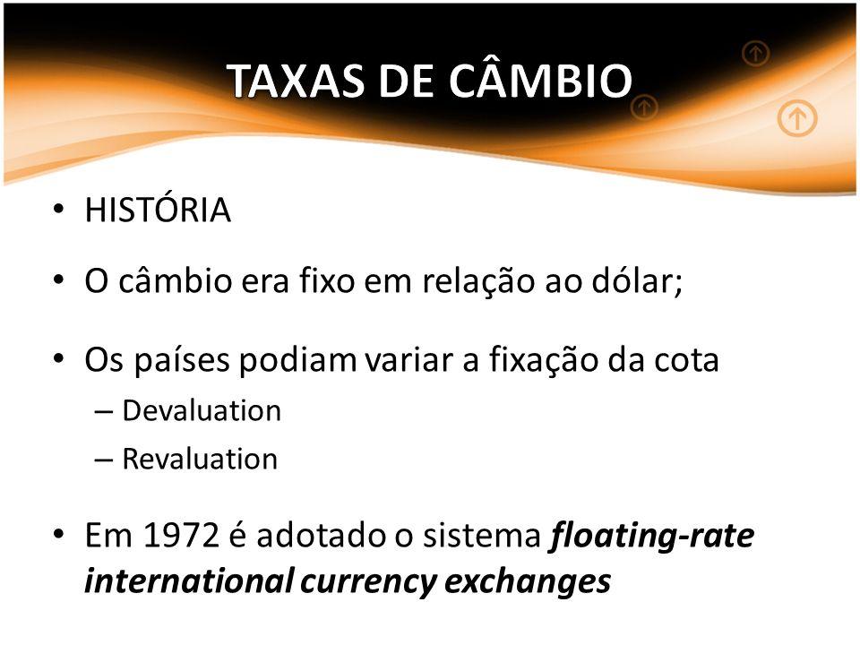 HISTÓRIA O câmbio era fixo em relação ao dólar; Os países podiam variar a fixação da cota – Devaluation – Revaluation Em 1972 é adotado o sistema floa