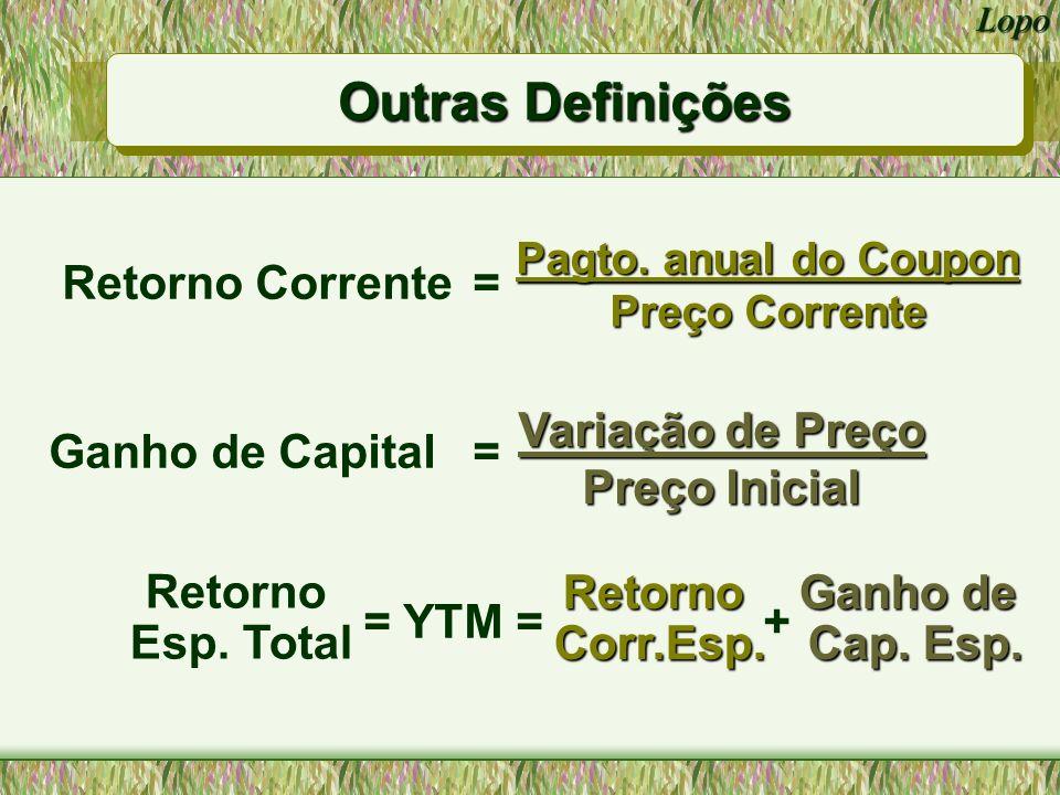 Lopo Retorno Corrente e Ganho de Capital para um bônus de 10 anos, com coupon de 9%, negociado por $887 e com YTM = 10.91%.