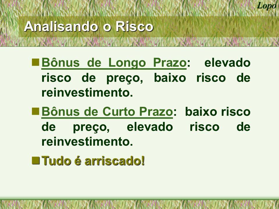 Lopo Bônus de Longo Prazo: elevado risco de preço, baixo risco de reinvestimento.