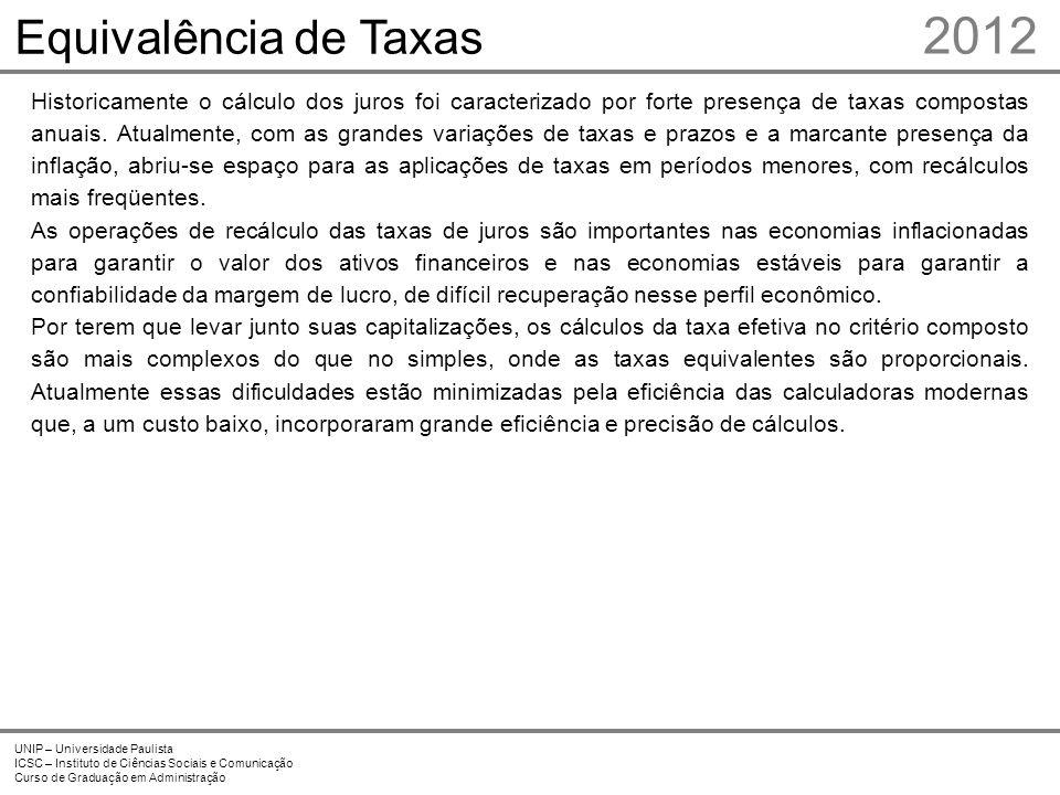2012 UNIP – Universidade Paulista ICSC – Instituto de Ciências Sociais e Comunicação Curso de Graduação em Administração Equivalência de Taxas Histori