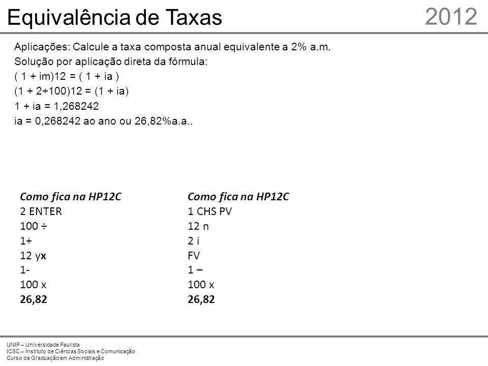 2012 UNIP – Universidade Paulista ICSC – Instituto de Ciências Sociais e Comunicação Curso de Graduação em Administração Equivalência de Taxas Aplicaç