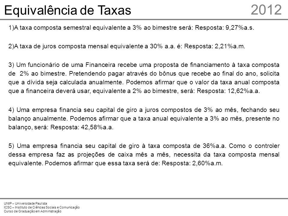 2012 UNIP – Universidade Paulista ICSC – Instituto de Ciências Sociais e Comunicação Curso de Graduação em Administração Equivalência de Taxas 1)A tax