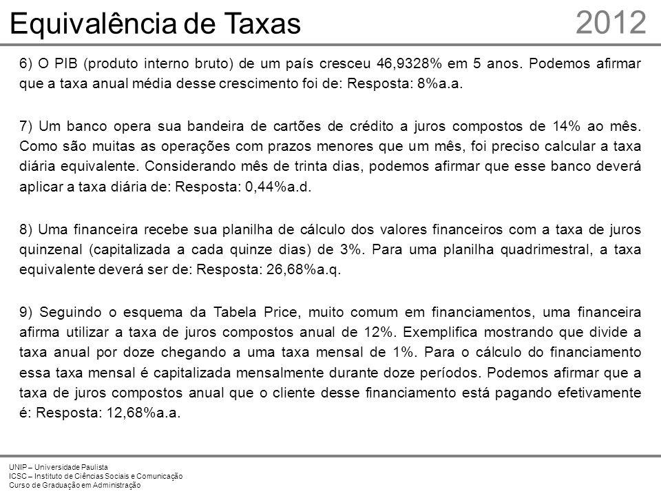 2012 UNIP – Universidade Paulista ICSC – Instituto de Ciências Sociais e Comunicação Curso de Graduação em Administração Equivalência de Taxas 6) O PI