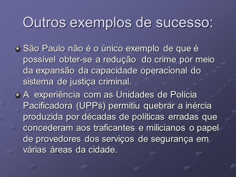 Outros exemplos de sucesso: São Paulo não é o único exemplo de que é possível obter-se a redução do crime por meio da expansão da capacidade operacional do sistema de justiça criminal.
