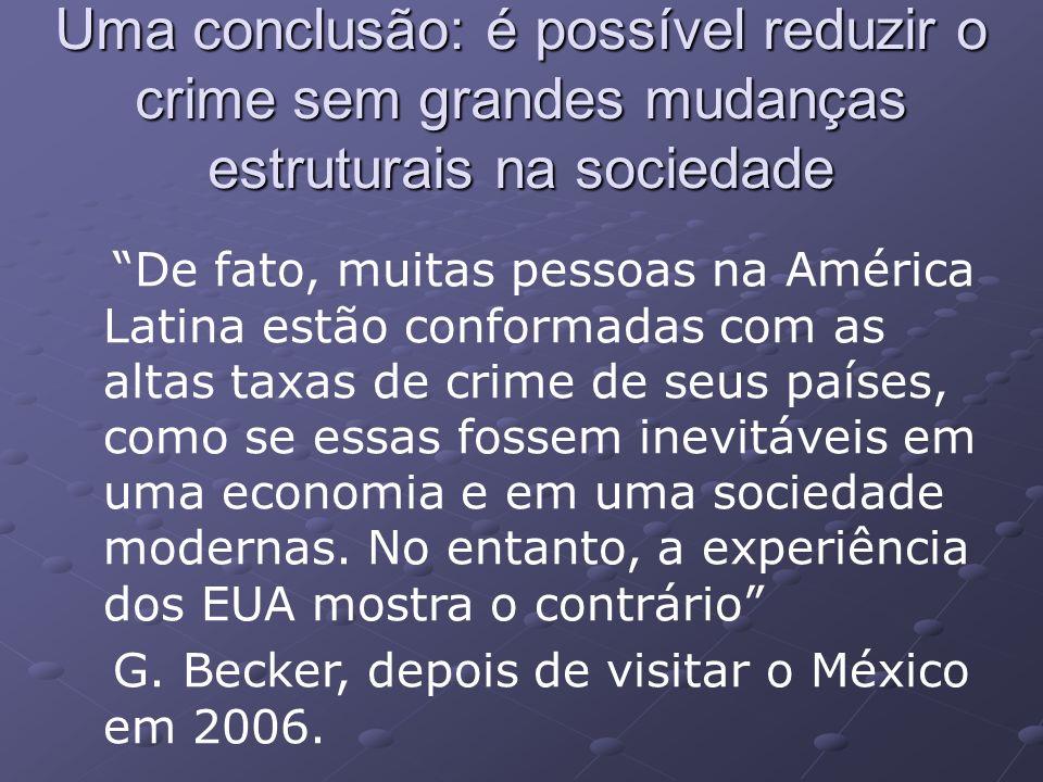Uma conclusão: é possível reduzir o crime sem grandes mudanças estruturais na sociedade De fato, muitas pessoas na América Latina estão conformadas com as altas taxas de crime de seus países, como se essas fossem inevitáveis em uma economia e em uma sociedade modernas.