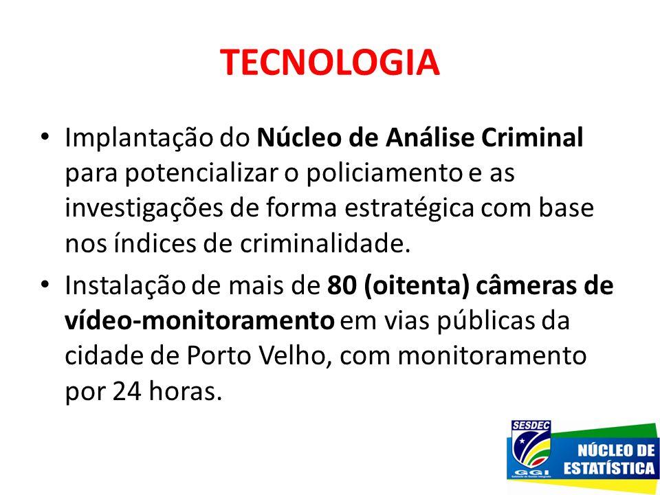 TECNOLOGIA Implantação do Núcleo de Análise Criminal para potencializar o policiamento e as investigações de forma estratégica com base nos índices de