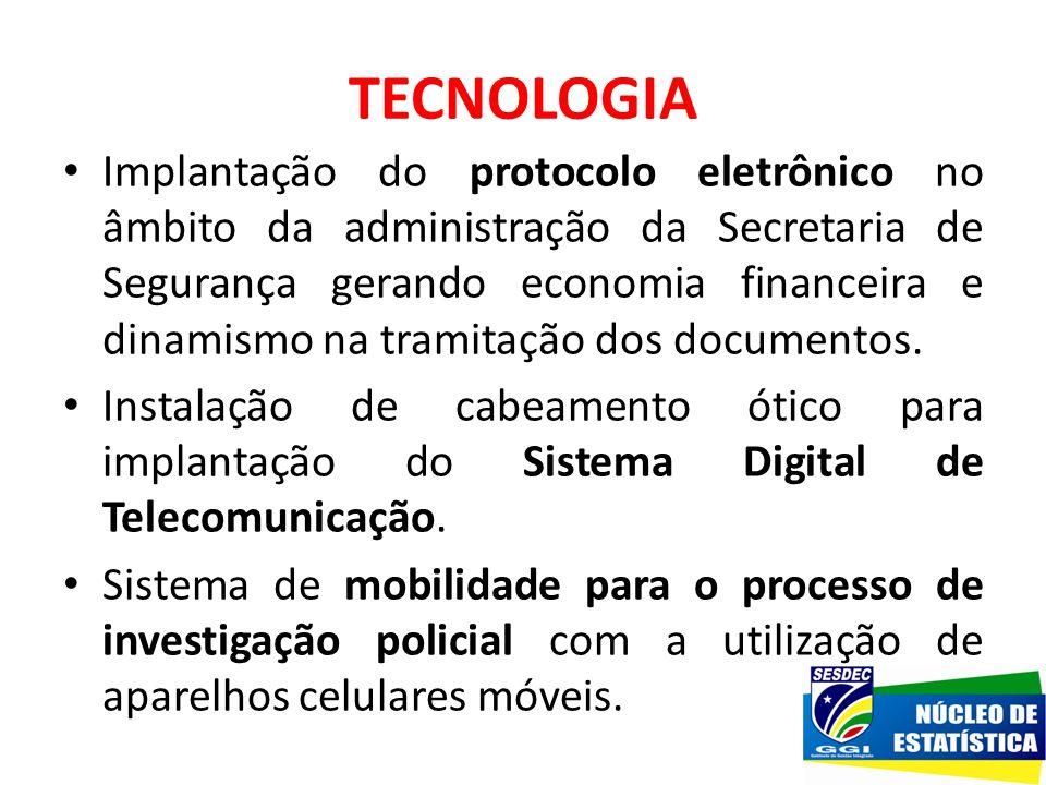 TECNOLOGIA Implantação do protocolo eletrônico no âmbito da administração da Secretaria de Segurança gerando economia financeira e dinamismo na tramit