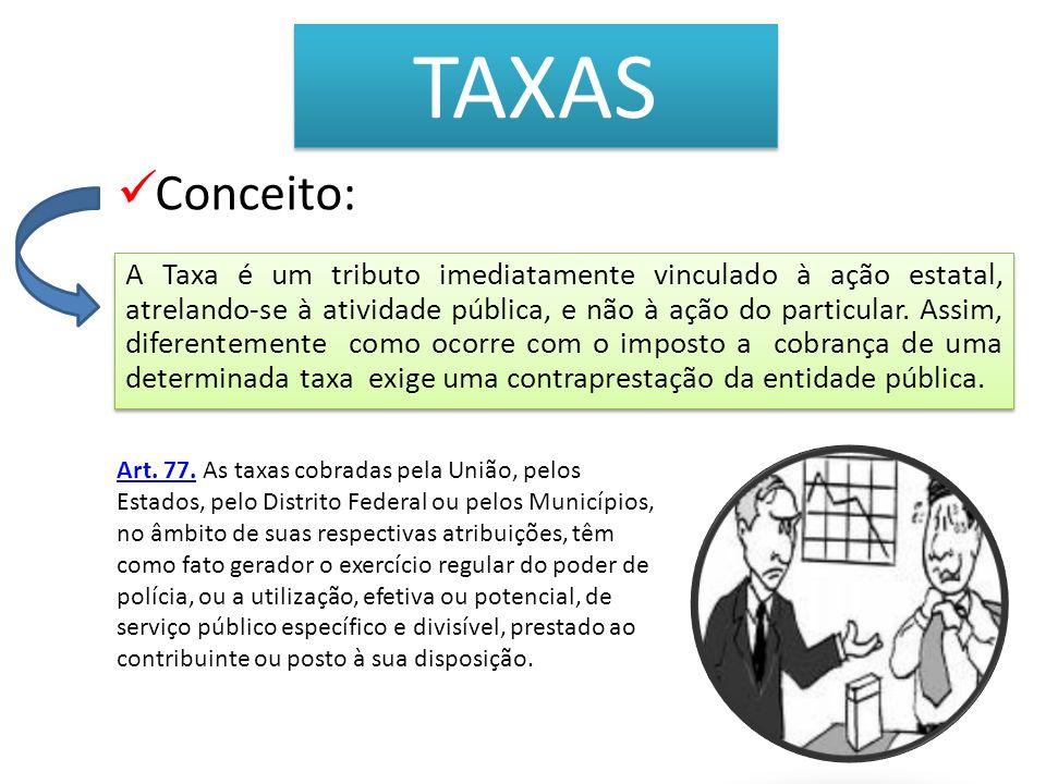 TAXAS A Taxa é um tributo imediatamente vinculado à ação estatal, atrelando-se à atividade pública, e não à ação do particular. Assim, diferentemente