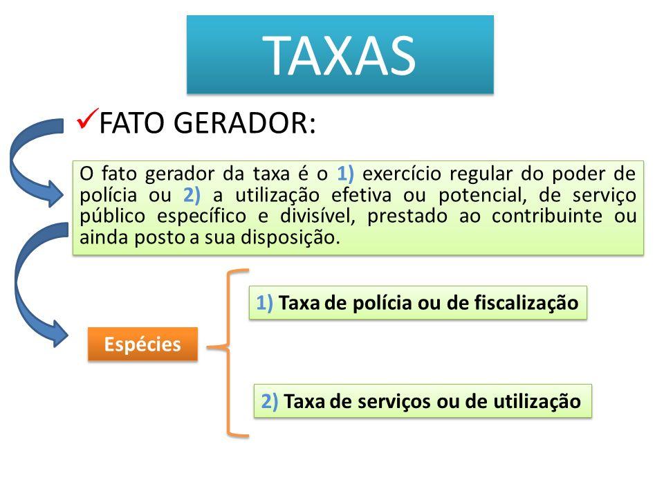 TAXAS 1) Taxa de polícia ou de fiscalização Art.78.