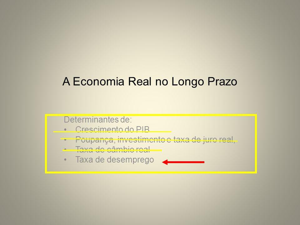 A Economia Real no Longo Prazo Determinantes de: Crescimento do PIB Poupança, investimento e taxa de juro real, Taxa de câmbio real Taxa de desemprego