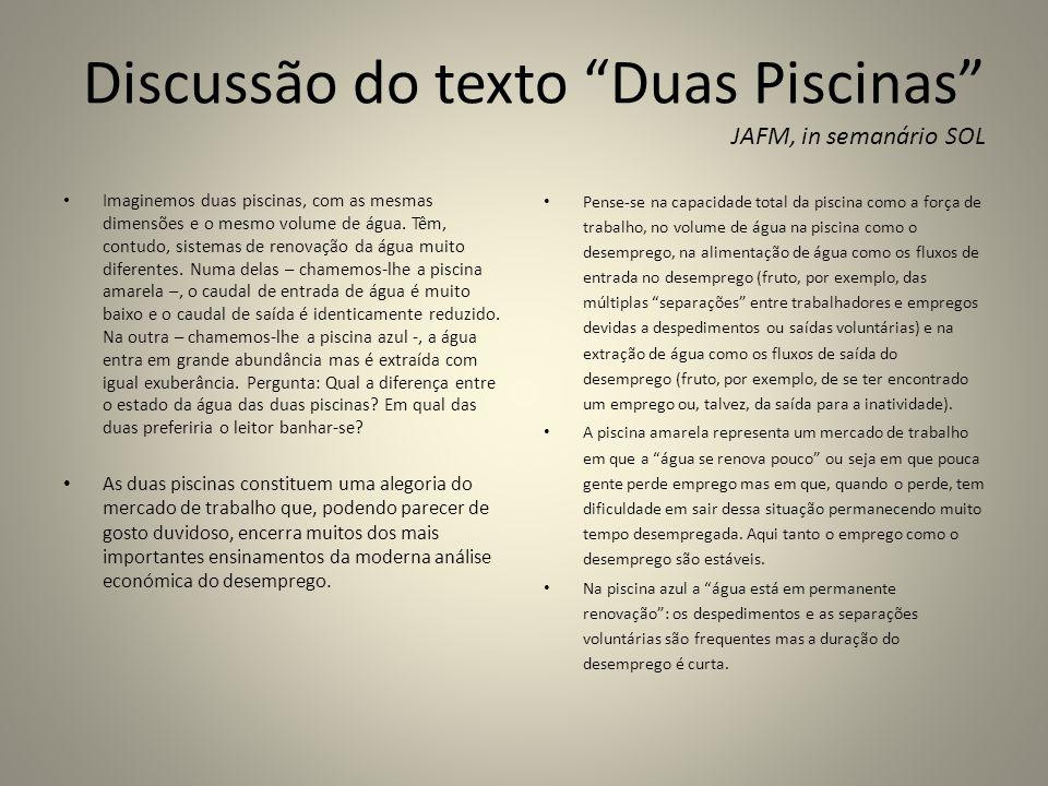 Discussão do texto Duas Piscinas JAFM, in semanário SOL Imaginemos duas piscinas, com as mesmas dimensões e o mesmo volume de água. Têm, contudo, sist