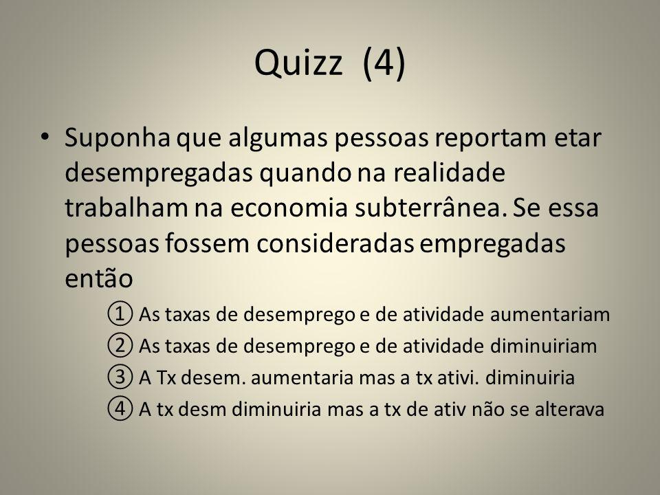 Quizz (4) Suponha que algumas pessoas reportam etar desempregadas quando na realidade trabalham na economia subterrânea. Se essa pessoas fossem consid