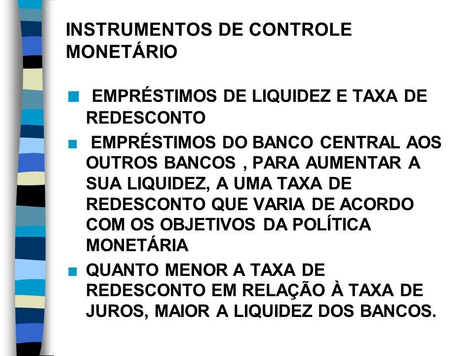 INSTRUMENTOS DE CONTROLE MONETÁRIO n RESERVAS COMPULSÓRIAS n Fixadas Pelo Banco Central, Determina a Parcela Dos Depósitos Que Pode Ser Emprestada, Afetando O Multiplicador Bancário