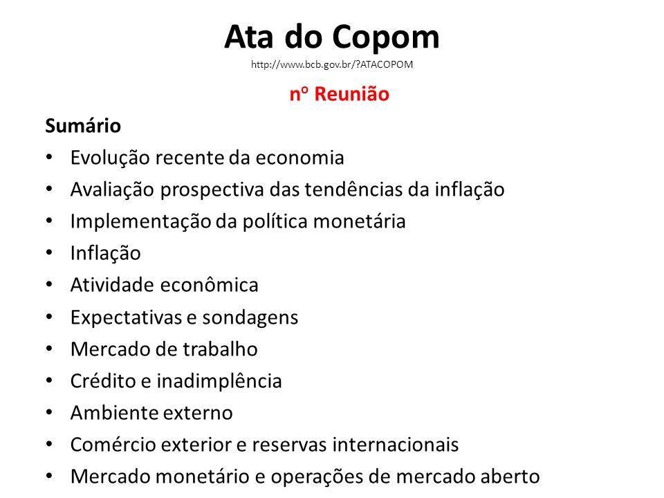 Ata do Copom http://www.bcb.gov.br/?ATACOPOM n o Reunião Sumário Evolução recente da economia Avaliação prospectiva das tendências da inflação Impleme