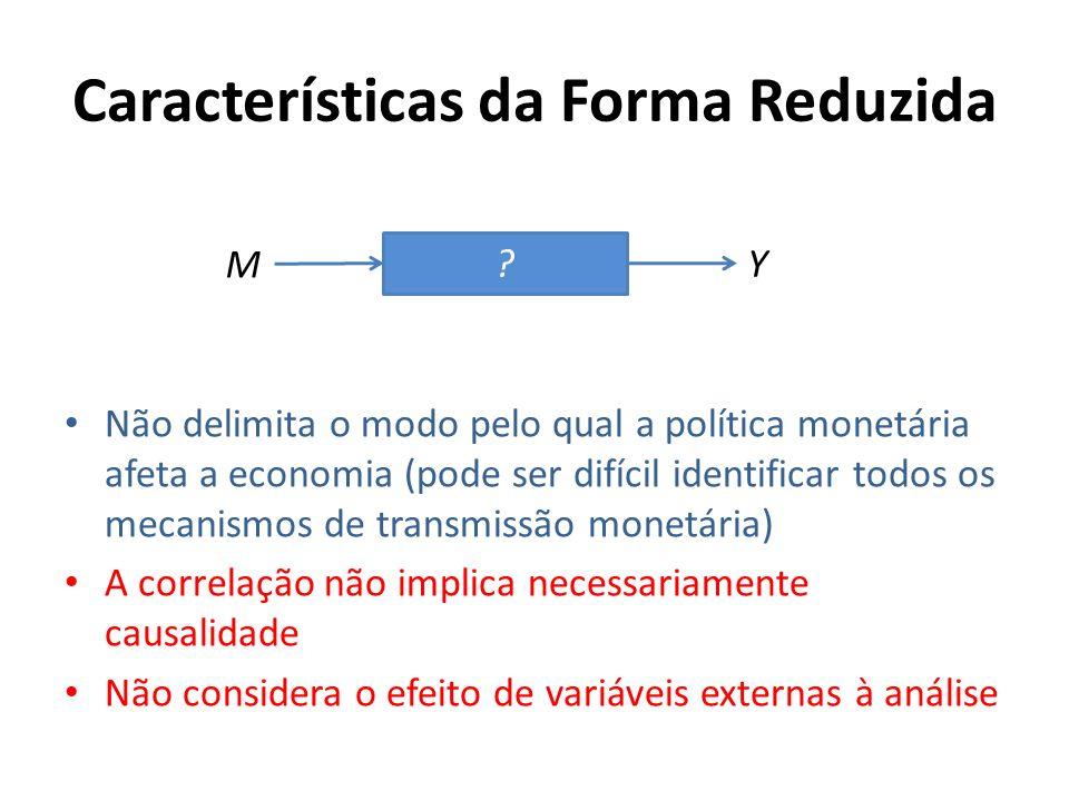 Características da Forma Reduzida Não delimita o modo pelo qual a política monetária afeta a economia (pode ser difícil identificar todos os mecanismo