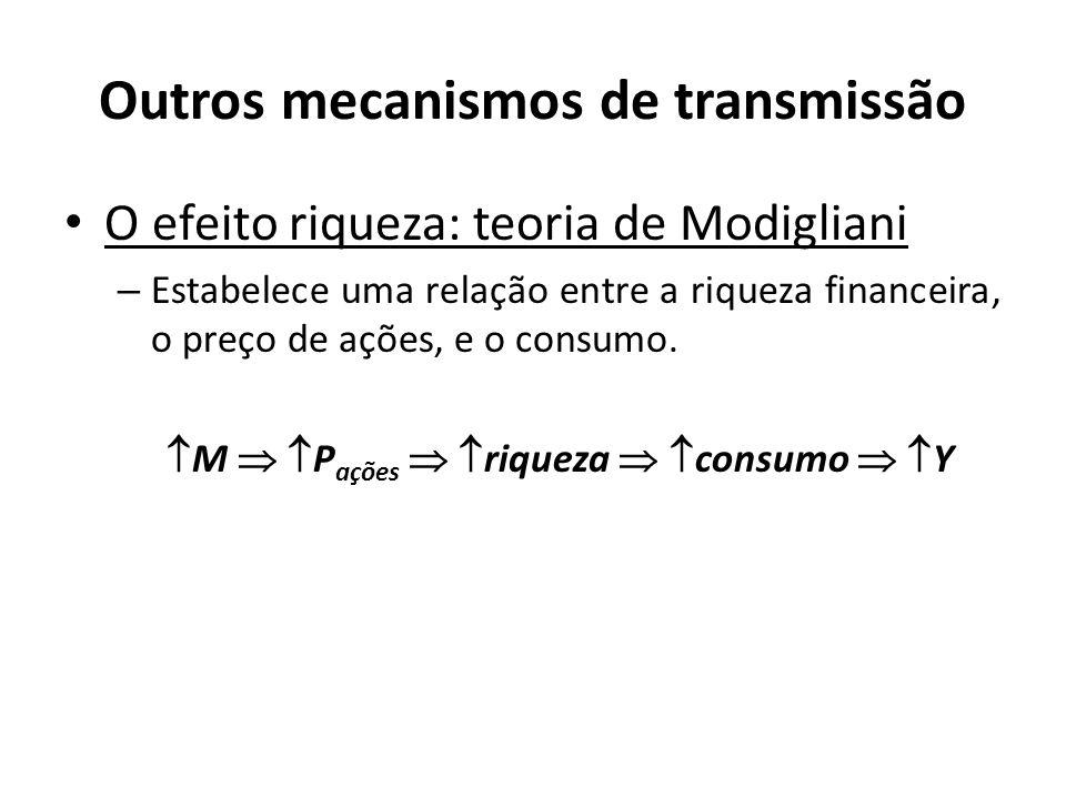 Outros mecanismos de transmissão O efeito riqueza: teoria de Modigliani – Estabelece uma relação entre a riqueza financeira, o preço de ações, e o con