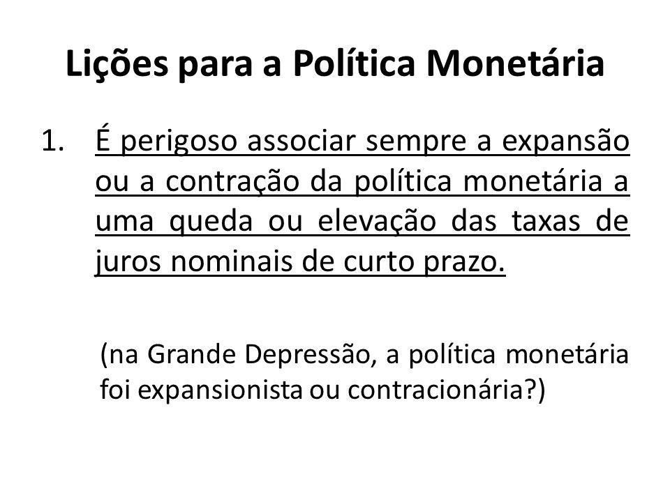 Lições para a Política Monetária 1.É perigoso associar sempre a expansão ou a contração da política monetária a uma queda ou elevação das taxas de jur
