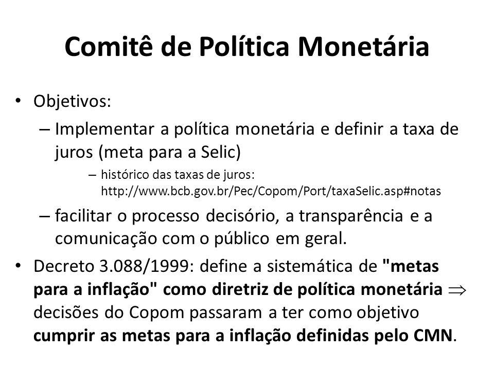 Comitê de Política Monetária Objetivos: – Implementar a política monetária e definir a taxa de juros (meta para a Selic) – histórico das taxas de juro