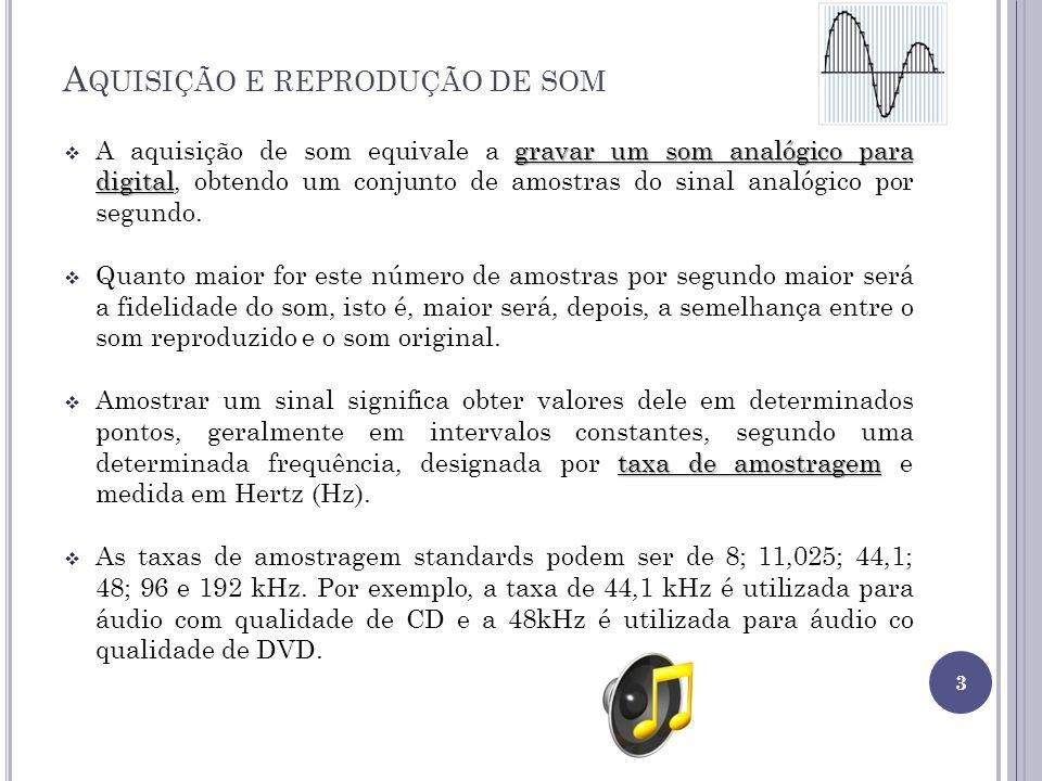 A QUISIÇÃO E REPRODUÇÃO DE SOM gravar um som analógico para digital A aquisição de som equivale a gravar um som analógico para digital, obtendo um con